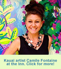 Kauai Artist Camile Fontaine paints at Garden Island Inn, Hawaii hotel, Kauai.